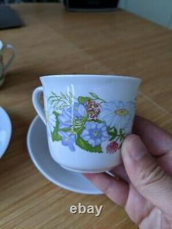 RARE Pair Rörstrand Midsommar Margareta Liljesköld 2 Coffee Cups 2 Saucers