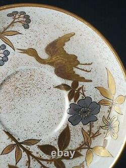 RARE Royal Worcester Gold Platinum Bamboo Aesthetic Porcelain Cup Saucer B