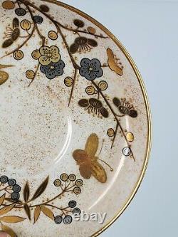 RARE Royal Worcester Gold Platinum Bamboo Aesthetic Porcelain Cup Saucer c. 1890