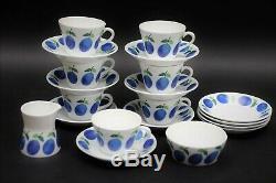 RARE Vintage 18 pcs Set Gustavsberg Prunus Stig Lindberg Cups, Saucers, Bowl