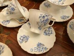 RARE Vintage Jiesia Handpainted Porcelain 6 Cup 6 Saucer Coffee Set