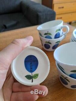 RETRO Vintage 11 pcs Gustavsberg Prunus Stig Lindberg Cups & Saucers +Milk Jug