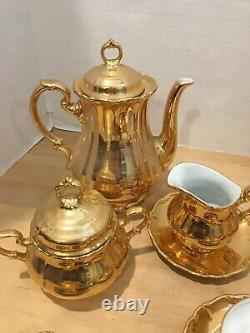 RRW Bavaria 14 Piece Gold Porcelain Tea Set Made In Germany Pot Saucers Cups