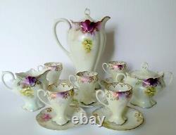 RS PRUSSIA Floral Satin Finish Porcelain Chocolate Pot Cups/Saucers Milk/Sugar