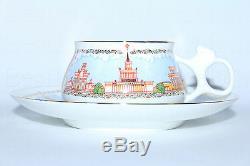 RUSSIAN Imperial Lomonosov Porcelain Bone Tea Cup & Saucer Pavilions ENEA Moscow