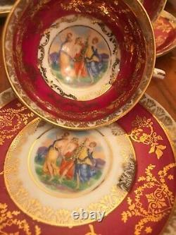 Rare 11 Cups 12 Saucers German Bavaria Rococo Porcelain Handpaited Coffee Set