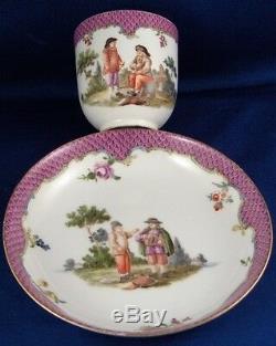 Rare 1750 Meissen Porcelain Scene Scenic Cup & Saucer Pink Scale Porzellan Tasse