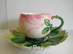 Rare 19th Century Minton Porcelain Pink Rose Shape Cup And Saucer