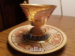 Rare Antique Royal Vienna Hand Painted Porcelain Pedal Stool Cup Saucer