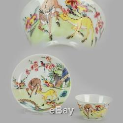 Rare Antique Yongzheng Period Chinese Porcelain Cup Saucer Deer Funghi