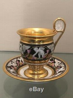 Rare MARC SCHOELCHER Old Paris Porcelain SWAN CUPID CUP SAUCER