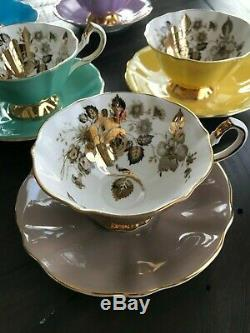 Rare Queen Anne teacup and saucer sets, Bone China, Porcelain, made in England