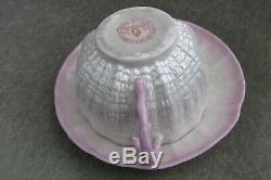 Rare Ulster Coalisland Irish porcelain cup & saucer c1880 red hand stamp belleek