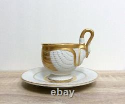 Rare Vintage RPM Royal Porzellan Manufaktur Gilded Porcelain Swan Cup and Saucer