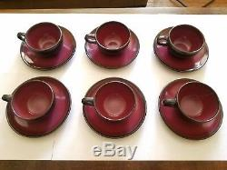 Rare Vintage Set of 6 Edith Heath Cups and Saucers RASPBERRY (Coupe Line)