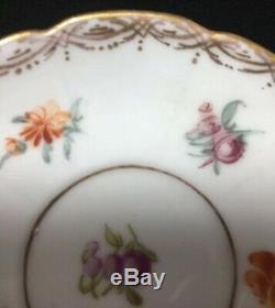 Richard Klemm Hand Painted Dresden Porcelain Demitasse Cup & Saucer Lobed