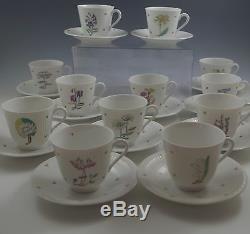 Rorstrand Sweden Porcelain Flora -botanical Set Of 11 Demitasse Cups And Saucers