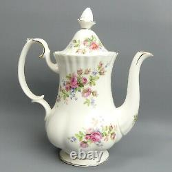Royal Albert Bone China Moss Rose Coffee Pot, Cups, Saucers Cream & Sugar Teaset