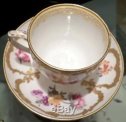 Royal Porcelain Factory KPM Porcelain Gold Gilt Painted Floral Cup and Saucer