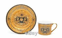 Royalty Porcelain 12-pc Luxury Yellow Greek Key Mini Espresso Turkish Coffee SET