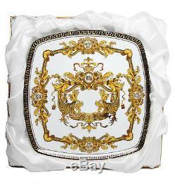 Royalty Porcelain 9-pc White Cake Dessert Set for Tea or Coffee, Luxury Medusa