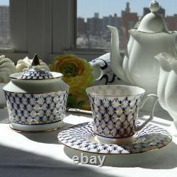 Russian Imperial Lomonosov Porcelain Cobalt Net Coffee Cup Teacup Saucer Set