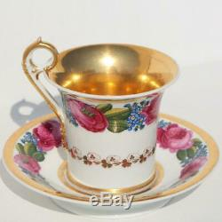 Russian Imperial Porcelain Factory Popov Floral Painting Cabinet Tea Cup Saucer