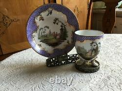 STUNNING MEISSEN CUP AND SAUCER PAINTED IN LILAC SCALE&PiICTURE VIGNETTS 19CA