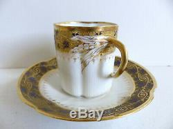SUPERB ANTIQUE LIMOGES PORCELAIN CUP & SAUCER w. GOLD 1890's (6 AVAIL)