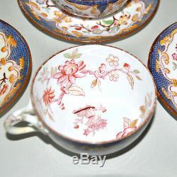 Service à thé Série de 6 tasses MINTON en Porcelaine Anglaise Peint Main 19e s