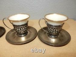 Set 4 Antique Lenox Sterling Silver Porcelain Demitasse Insert Cups and Saucers