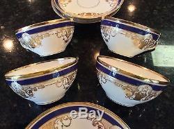 Set 4 Dresden Ambrosius LAMM Hand Painted Porcelain Cup & Saucers Cobalt & Gold