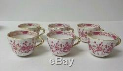 Set/6 Meissen PURPLE INDIAN Demitasse Cup & Saucer Sets, First Quality