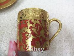 Set Of 2 Limoges Porcelain By G Dumas Fils Demitasse Cup & Saucer -orange & Gold