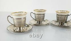 Set of 4 Lenox Porcelain and Whiting & Co Sterling Silver Demitasse Cups Saucers