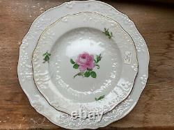 Set of 5 Antique Meissen Porcelain Floral Cup, Saucer, & Plates Great Condition