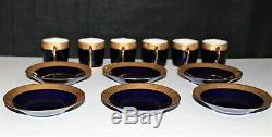 Set of 6 Limoges France Cobalt/Gold Porcelain Demitasse Cups & Saucers in Box
