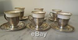 Set of 6 Sterling Silver and Porcelain Liners Lenox Espresso Cups & Saucer