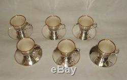 Set of 6 Tiffany & Co Sterling Silver & Porcelain Demitasse Cups & Saucers 1912