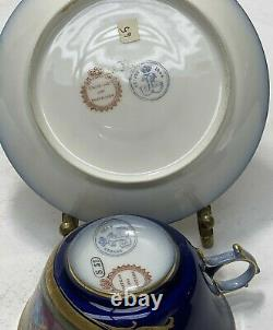 Sevres France Hand Painted Porcelain Cup & Saucer, 19th C. Courting Scene