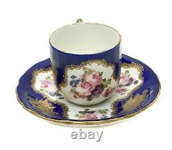 Sevres France Hand Painted Porcelain Cup and Saucer, 19th C. Floral Bouquet