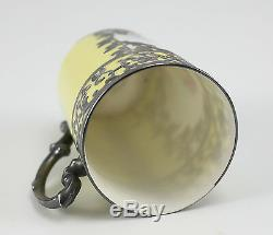 Sevres Jean Pouyat Porcelain & Silver Overlay Cup with Miniature Portrait Signed