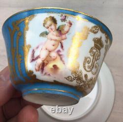 Sevres Porcelain Louis Phillipe Chateau des Tuileries Cup & Saucer cherubs blue
