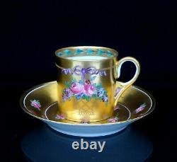 Sevres Rare Antique Cup and Saucer Gold and Roses Decor 19th ct