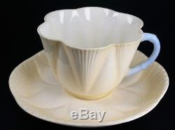 Shelley Porcelain Pastel Yellow Blue Handled Porcelain Cup and Saucer