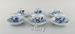 Six antique Meissen Blue Onion coffee cups with saucer, hand-painted porcelain