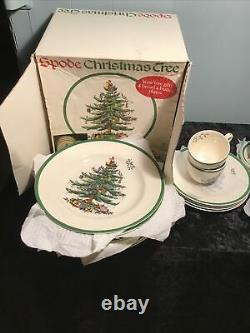 Spode Christmas Tree 20 Piece Starter Set Dinner Salad Plates Cups Saucers