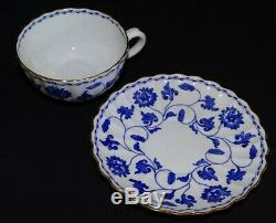 Spode England Colonel Y6235 Blue Set of 8 Cups & Saucers Bone China