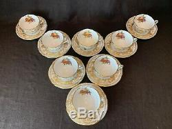 Spode Golden Valley Flat Cup and Saucers Set of 8 Y7840 Fruit Vintage