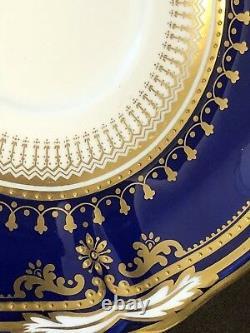 Spode Lancaster Cobalt Flat Cup and Saucer Blue Gold Encrusted